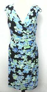EUC-159-RALPH-LAUREN-Womens-Dress-Faux-Wrap-Blue-FLORAL-Stretchy-Lined-sz-12