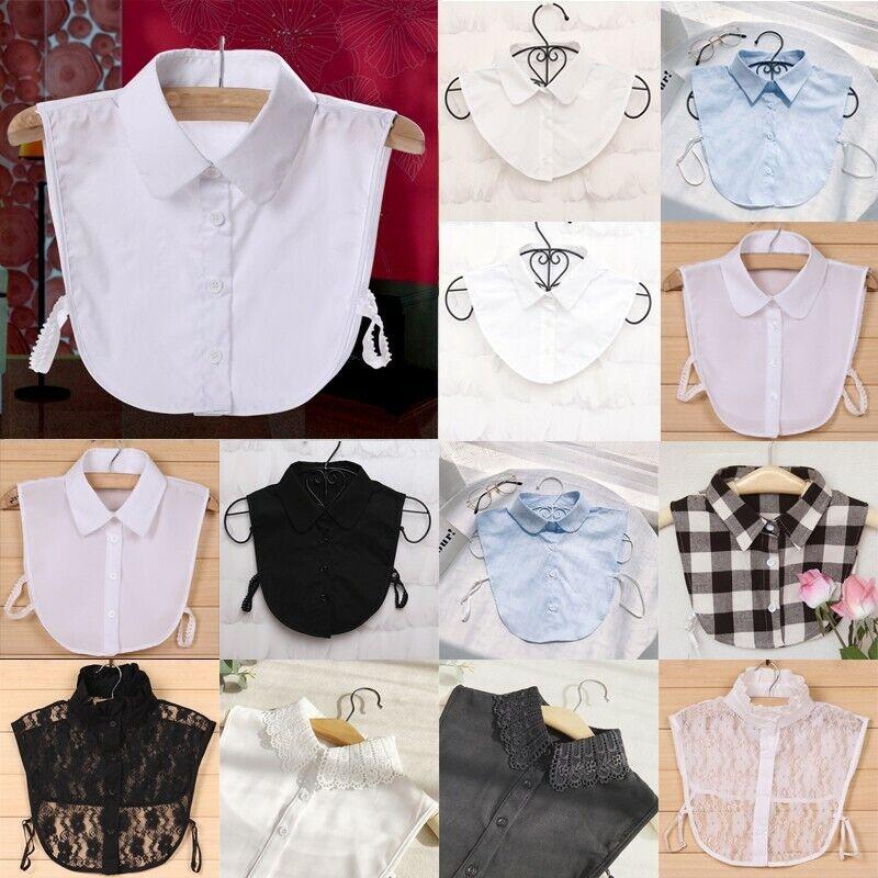 Women Cotton Lace Fake Collar Blouse Vintage Detachable Shirt Collar False Decor