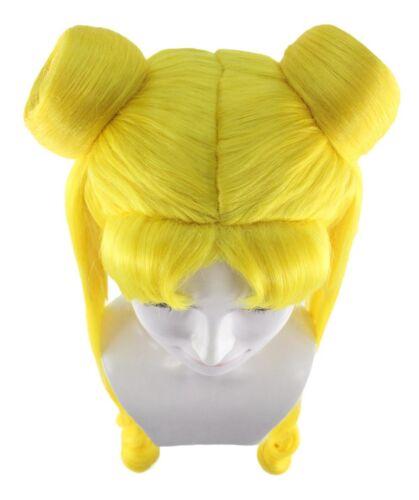 Sailor Moon Tsukino Usagi 2 Ponytails Buns Bangs Long Yellow Cosplay Wig HW-2243