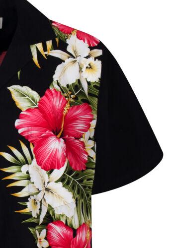 KY /'s Original Chemise Hawaïenne Rouge Hibiskus vertical noir