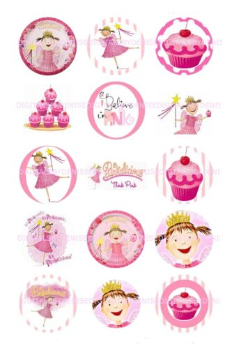 "PINKALICIOUS 1 /"" CIRCLES  BOTTLE CAP IMAGES $2.45-$5.50 *****FREE SHIPPING****"