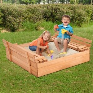 Great Image Is Loading Wooden Sandbox Retractable Kids Children Outdoor Play Cover