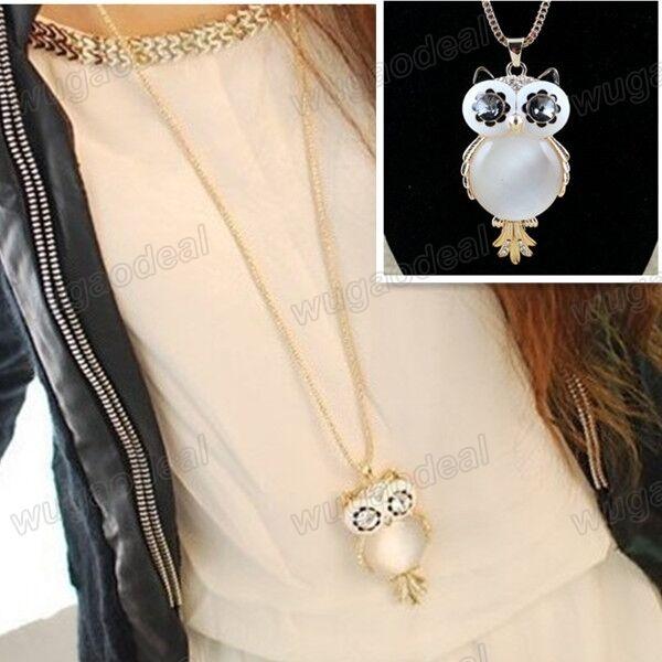 1 Pc Stylish Gold Plated Alloy Noble Big White Opal Owl Pendant Long Necklace