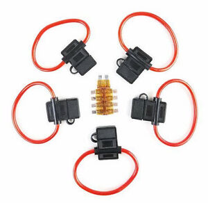 20 AMP Fuse Cover New Car Truck Install 5 Pack 8 Gauge In-line ATC Fuse Holder