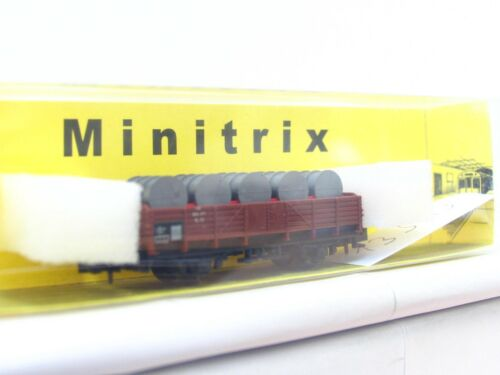 LN4263 Minitrix N 51 3513 00 Niederbordwagen m 5 grauen Fässern beladen DB EVP
