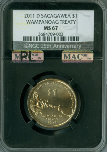 2011-D SACAGAWEA WAMPANOAG DOLLAR NGC MAC MS 67 PL PQ 2ND FINEST RETRO .