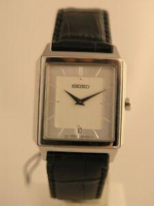 Seiko watches black bracelet silver tone case silver dial classic SKP301P1