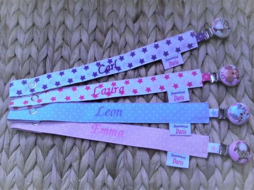 Schnullerband mit Namen*neu*weiß//blau,weiß//pink,hellblau//weiß,rosa//weiß*Holzklip