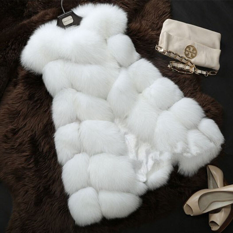 Womens Round Collar Long Fur Leather Vest Coat Coat Coat Slim Sleeveless Outwear Waistcoat 42aa23