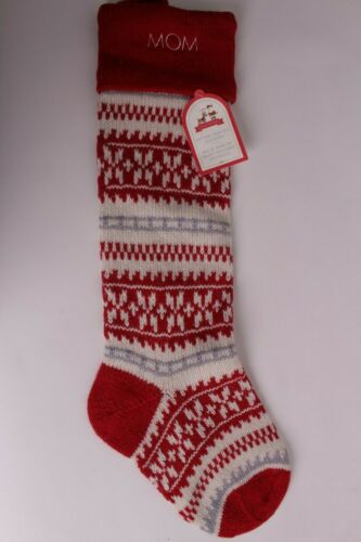 "NWT Pottery Barn Kids Fair Isle Red ivory stocking Christmas says /""Mom/"""