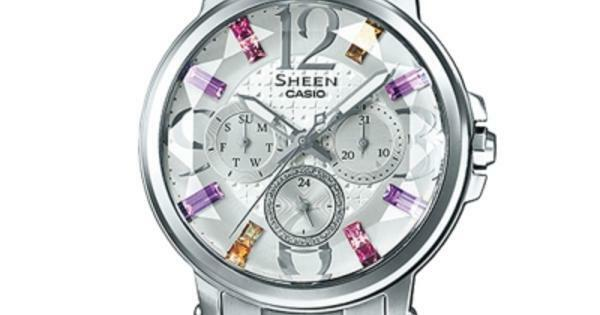 best sneakers 18d5b 33afe She-3035d-7a White Casio Sheen Ladies Women's Watches 50m Stainless Steel  Band