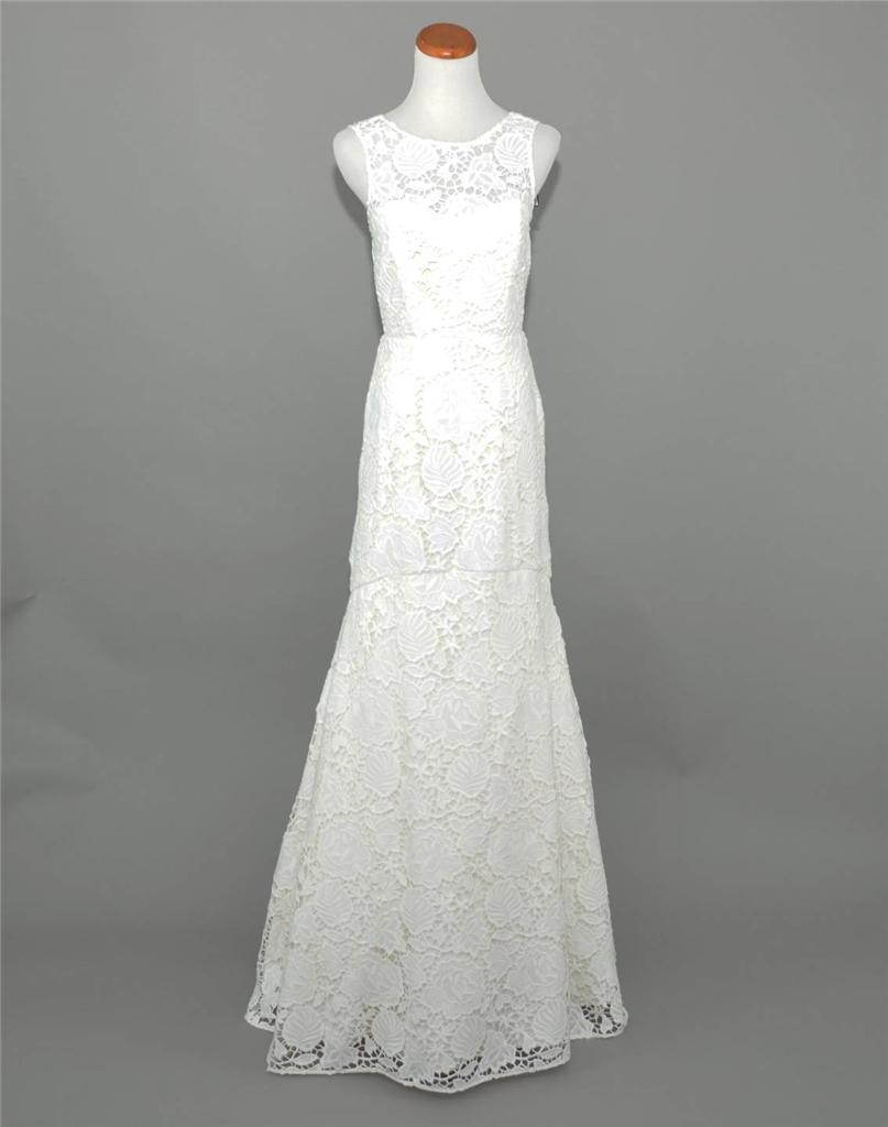 J.CREW ,200 HELOISE LACE MERMAID WEDDING GOWN 12 IVORY LONG BRIDAL DRESS