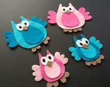 family of 4 felt owl die cuts. card toppers. embellishments Ideal for Box frames