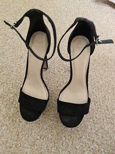 ASOS Black High Heel Suede Platform Sandals UK size 6