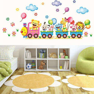 Details About Animals Diy Train Wall Sticker For Kids Baby Room Nursery Home Decor Mural Art