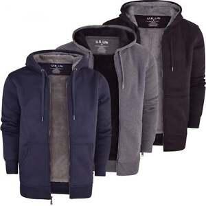 Mens-Soft-Fleece-Lined-Hooded-Jumper-Sweatshirt-Zip-Through-Up-Plain-Coat-Jacket