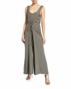 BCBGeneration-Women-039-s-Lace-up-Cropped-Jumpsuit-Gray-Size-M-118-NwT