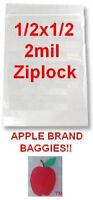 5000 Apple Brand 1/2x1/2 2mil Clear Ziplock Bags 5,000 .5 1/2 1212 Baggies .5