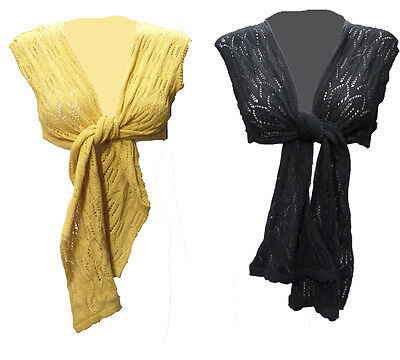 Womens Ladies New Mustard /& Black Stretchy Tie Up Shrug//Bolero Sizes 8-14