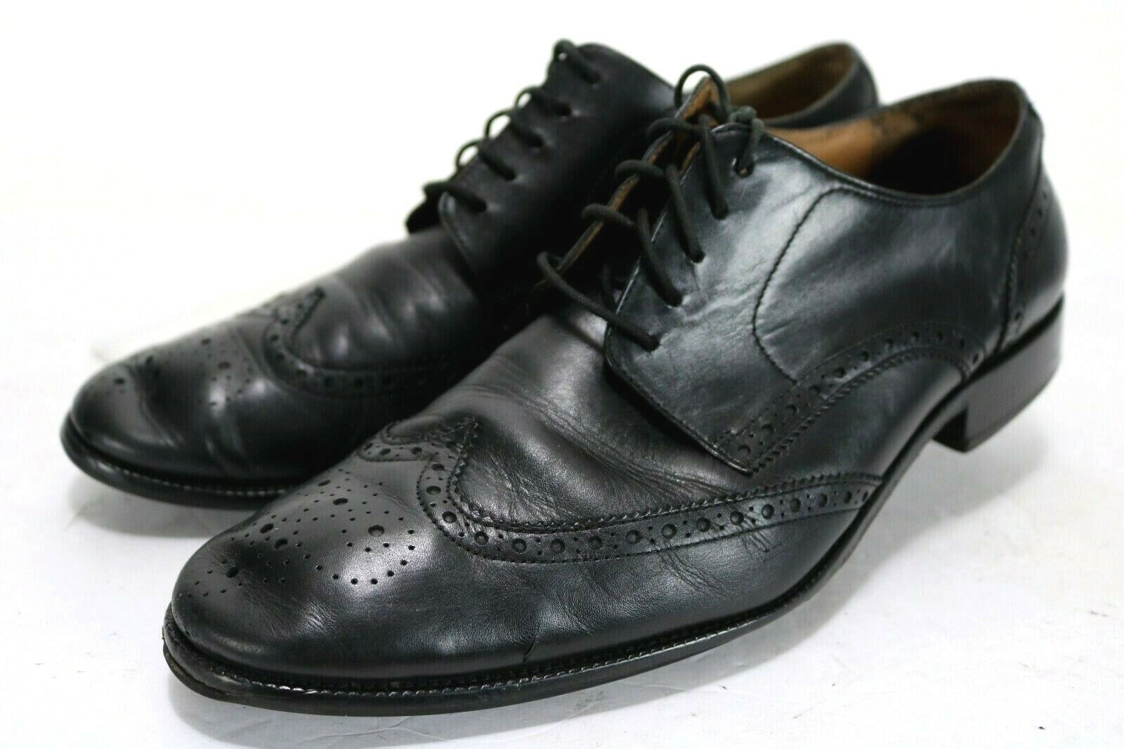 Cole Haan Williams Medallion  159 Mens Wingtip Oxford Size 11 Black Small Defect