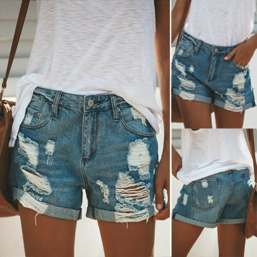 Plus Size Women/'s Distressed Stretch Skinny Denim Shorts Frayed Jeans Hot Pants