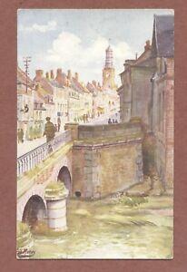 Doullens-La-Rue-du-Bourg-et-Pont-Fred-Money-French-Artist-AH227