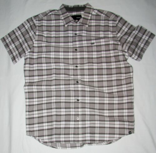 NEW MENS HURLEY knightly SHORT SLEEVE BUTTON UP SHIRT GREY LARGE
