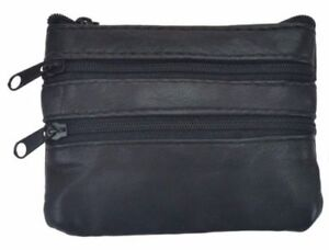 Black-Genuine-Leather-Small-Coin-Holder-Change-Purse-Zipper-Key-Card-Wallet