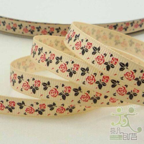 """3//8/"""" 9 mm Daisy fleur Rose Printemps Gros-Grain Ruban 5//50 Yards Craft À faire soi-même Couture"""