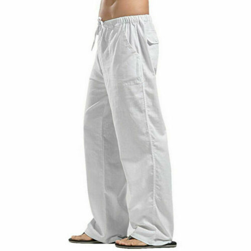 Casual Pants Straight Men/'s Cotton Linen Solid Drawstring Trousers SF Loose