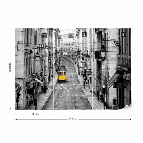 Papier Peint nappes papier peint Portugal jaune Tramway à Lisbonne Noir et Blanc