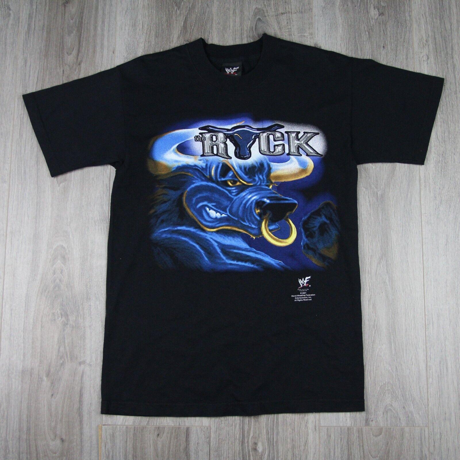 Herren Oldtimer Wwf 2001 The Rock Wrestling T-Shirt Brahma Bulle Can You Geruch