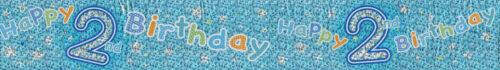 EX 2ND BIRTHDAY// AGE 2 BIRTHDAY BOY FOIL WALL BANNERS