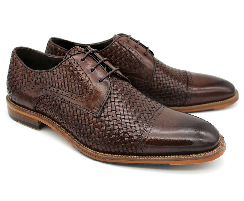 * B22 Uk 7 Homme Marron En Cuir Véritable Chaussures De Loisirs Tissé À Lacets Smart Bureau Ue 41