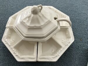 California USA Pottery  White  7-Pc Set w Tureen & Lazy Susan Dishes 173