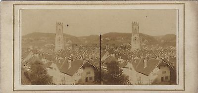 City To Identify Photo Stereo Vintage Salted Albuminisé Switzerland Fribourg Collectibles Other Militaria