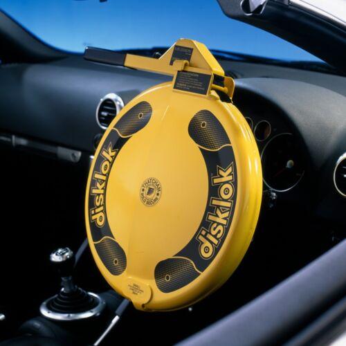DISKLOK STEERING WHEEL SECURITY LOCK MED YELLOW 39-41.5 cm... Free UK Shipping!