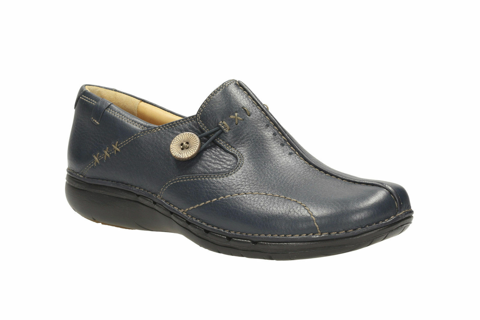 Clarks Un Loop Ladies Unstructured Navy Soft Leather Slip On shoes