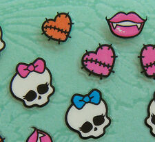 Nail Art 3D Sticker Halloween Cute Skull w/ patched Heart Lips 30 pcs per sheet