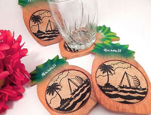 Coasters-Cork-and-Wood-Pineapple-Hawaii-Barware-Set-of-4-Beverage-Serving-Mats