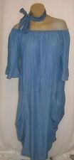 zauberhaftes Jeanskleid Carmen-Ausschnitt blau von D'Celli Gr. 48 - 50 NEU