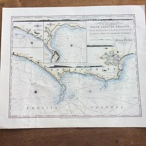 Poole England Map.Vintage Reproduction Map Plan South Coast Of England Poole Bay