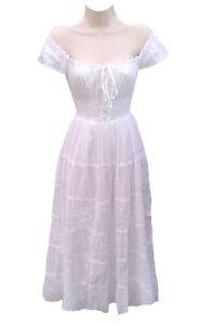 f47ea54cdc Details about Gypsy 100% Cotton Women White Boho Renaissance Smocked  Peasant Mid Length Dress