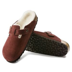 new product de6a5 f66ba Details zu Birkenstock Boston LEDER Lammfell normal Port rot Hausschuhe  Clogs 1012250 NEU