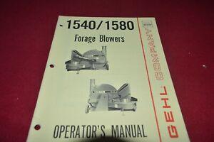 Gehl 1540 1580 Fourrage Souffleur Operator's Pièces Manuel Mauricienne-afficher Le Titre D'origine Qcknukbr-08003722-569638440