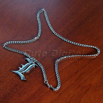 Death Note Letter L Symbol Silver Pendent Necklace Lawliet Kira Anime Cosplay