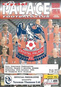 Football-Programme-gt-CRYSTAL-PALACE-RESERVES-v-BRISTOL-ROVERS-RESERVES-Oct-1995