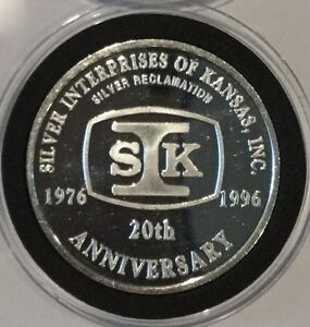 1996 SIK Silver Interprise Of Kansas Inc 1 Troy Oz .999 Fine Silver Round Coin