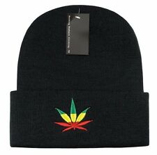 Black Rasta Weed Leaf Pot Cannabis Marijuana Cuffed Beanie Beanies Cap Hat Hats