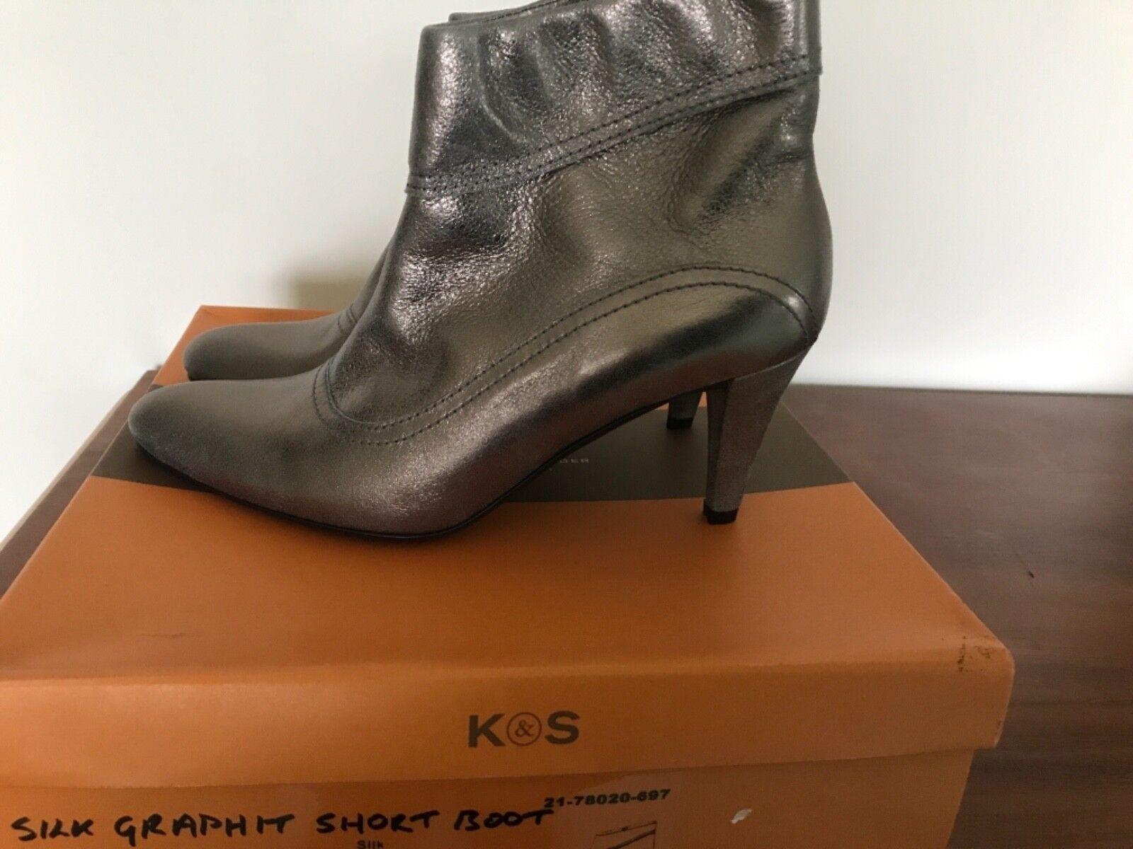 KS donna Grafite seta Grafite donna breve keather Boot Taglia 5 Nuovo con etichette f296cb